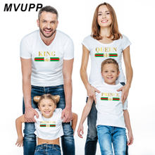 Fashion king queen princess t shirt matching clothes for father mother daughter son family look outfits mommy and me baby dress(China)
