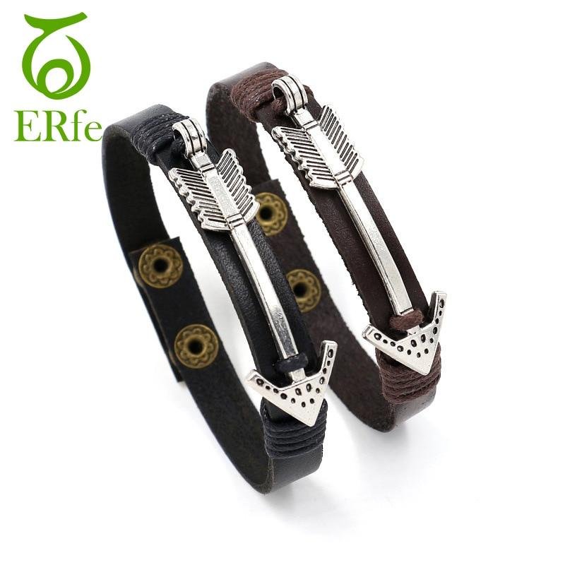 ER Vintage Silver Arrow Bracelet Men Single Leather Cuff Bracelets Best Friend Wristband Braslet Male Hand Accessories LB040