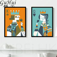 Creative Cartoon Playing Cards King And Queen Canvas Decorative Painting Personality Living Room Simple Coffee Shop