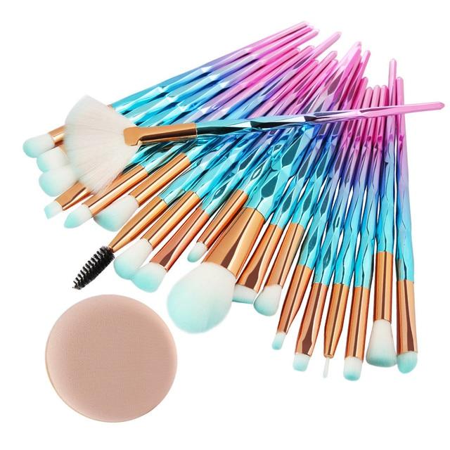 20 piezas de maquillaje cepillos Blush de fundación de polvo de mezcla de sombra de ojos labio cosmético belleza cepillo pincel, maquiagem