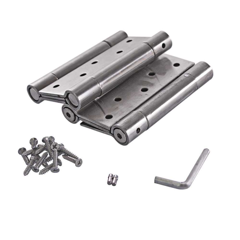 5 Inch Stainless Steel Automatic closing Double Action Silver Spring Door Hinges Adjustable tension Pack of 2