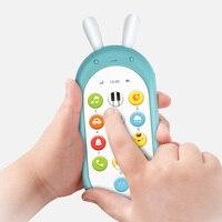 Crianças simulação de telefone móvel botão eletrônico brinquedo telefone celular bebê infantil brinquedos educativos aprender música inglês Telefones brinquedo     -