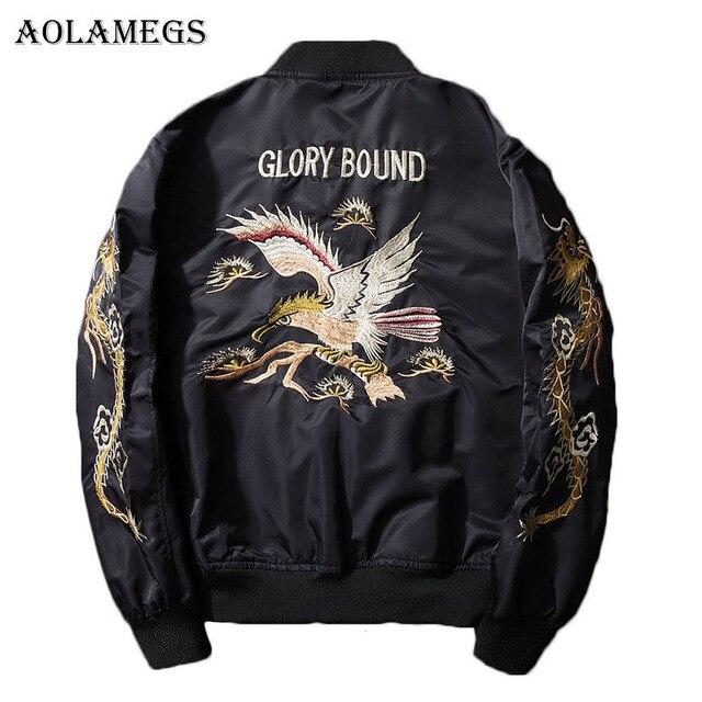 Aolamegs Bomber Jacket Dragon Eagle Embroidery Men's Jacket Stand Collar Fashion Outwear Autumn Men Coat Bomb Baseball Jackets