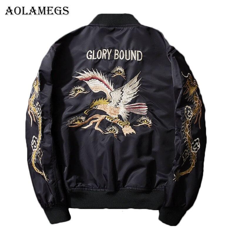 Aolamegs Bomber Veste de Dragon Aigle Broderie Hommes Veste Col montant Mode Outwear Automne Hommes Manteau Bombe Baseball Vestes