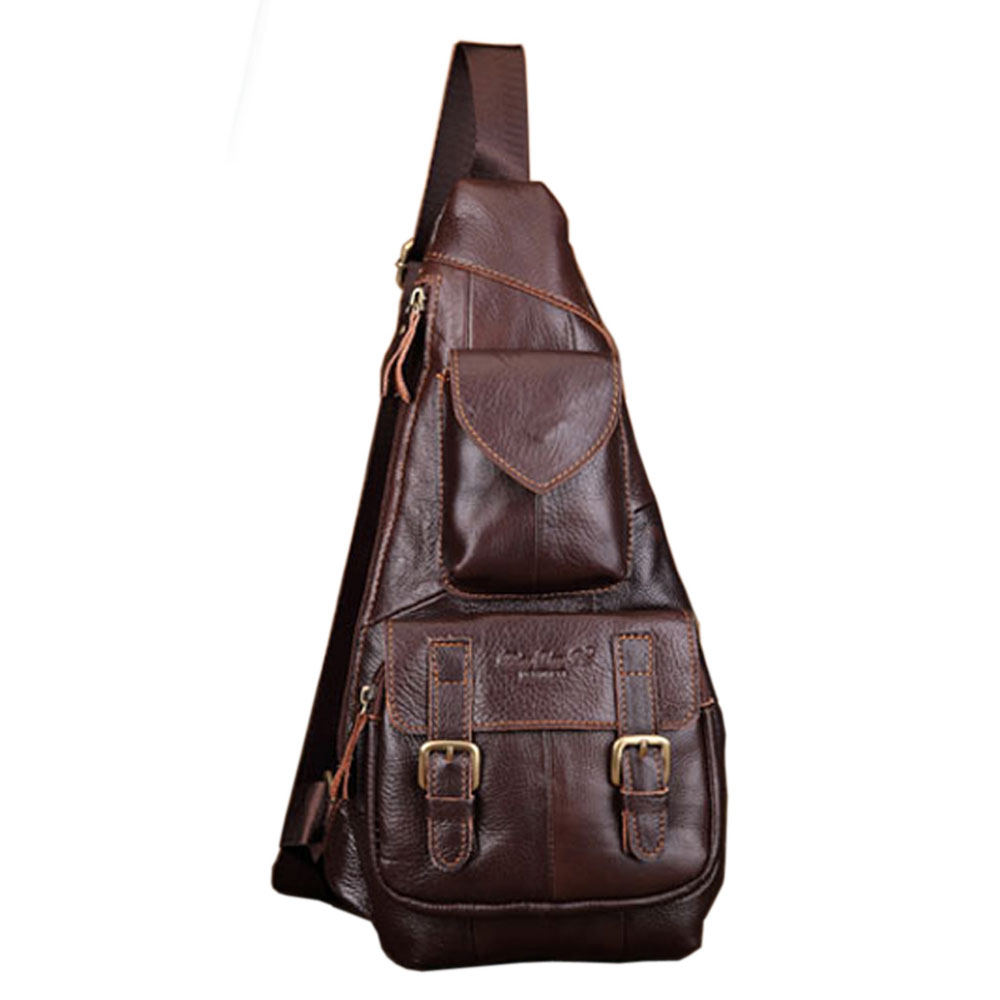 Men's Genuine Leather Retro Sling Chest Bag Belt Buckle Back Pack Cross Body Shoulder Messenger Unbalance Sports Pouch Travel