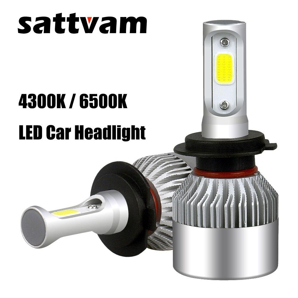 SATTVAM 2 stücke 4300 karat 6500 karat H7 LED H4 H11 H1 9006 HB4 9005 HB3 Auto Scheinwerfer Lampen 12 v 24 v 72 watt 8000LM led Auto Scheinwerfer