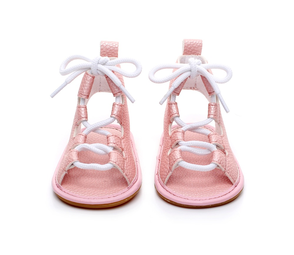 Ny ankomst hård gummi sål sommer romerske piger børn gladiator sko toddler baby prinsesse kjole læder blonder op sandaler 0-24M