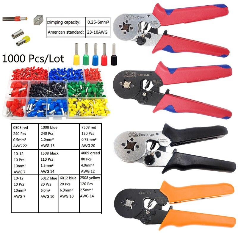 1000 pz/lotto terminale del tubo connettore hsc8 6-4A crimp tool wire cutter elettricista pinze di piegatura utensili a mano 0.25-6mm2 AWG23-101000 pz/lotto terminale del tubo connettore hsc8 6-4A crimp tool wire cutter elettricista pinze di piegatura utensili a mano 0.25-6mm2 AWG23-10