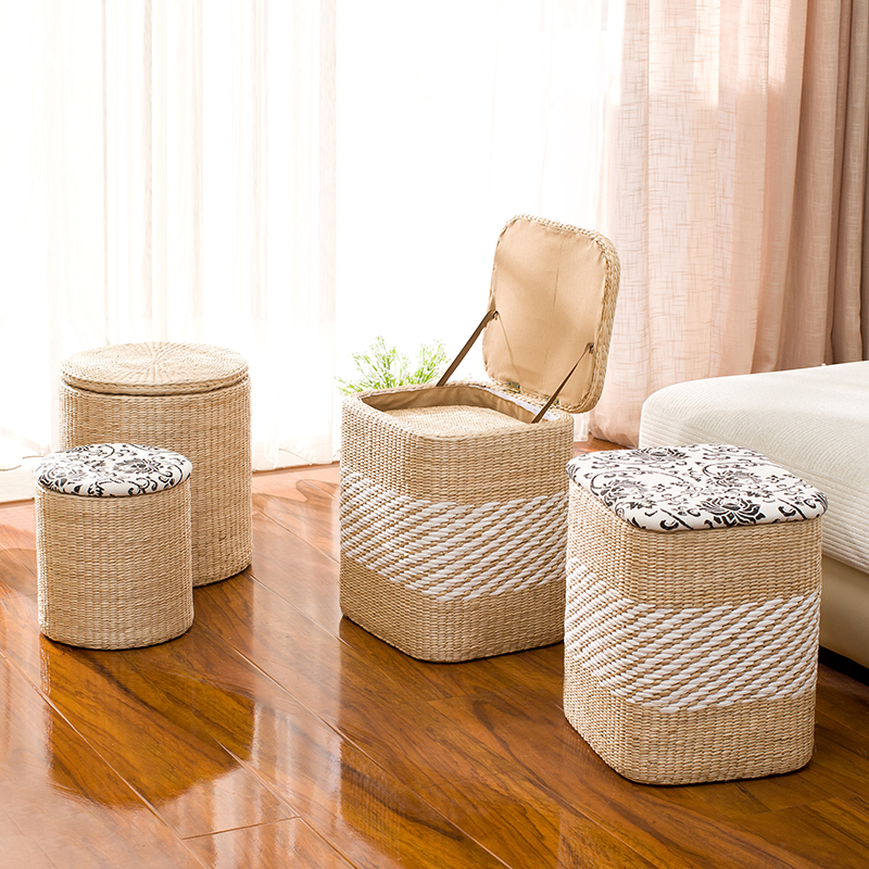 Enjoyable Us 52 29 12 Off Rattan Straw Storage Stool Change Shoes Stool Storage Stool Can Sit People Covered Storage Box Sofa Stool Ottoman In Stools Machost Co Dining Chair Design Ideas Machostcouk