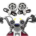 A Pair Black Silver Motorcycle 12V Handlebar Mount Round Speakers Host Amplifier With Rubber Pads For Cruiser Chopper