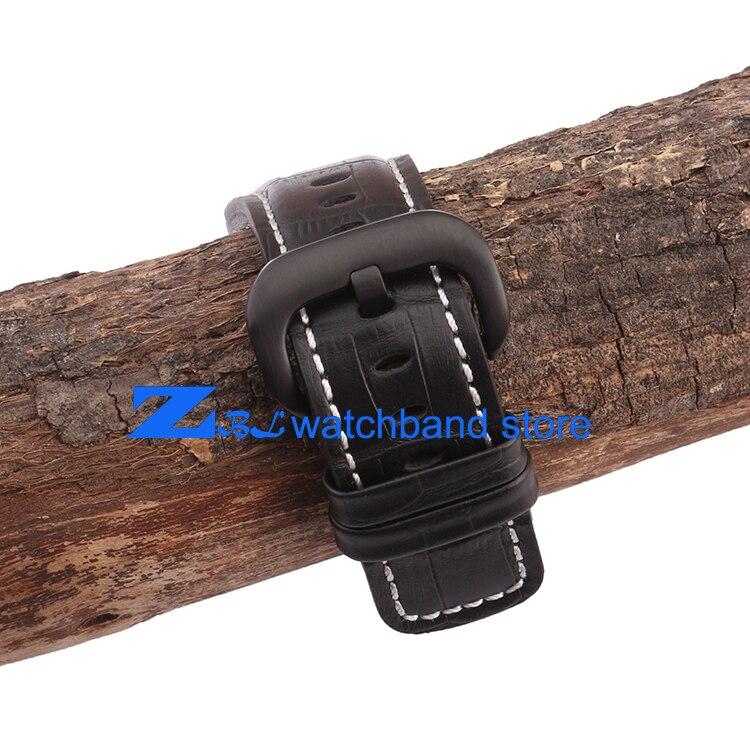 Bracelet en cuir véritable 28mm le bracelet de montre de haute qualité bracelet de montre noir avec blanc cousu pour vendredi hommes montre accessoires - 5