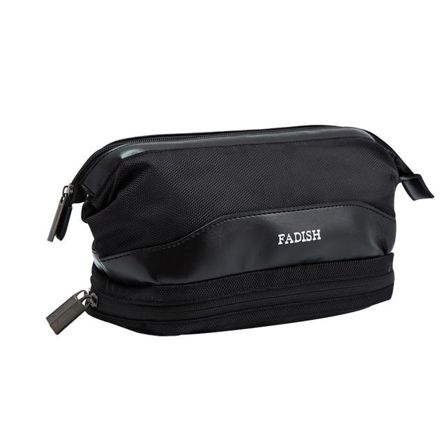 Waterproof Polyester Men Travel Toiletry Bag 2 Compartments Fashion Zipper Cosmetic Women Makeup Organizer