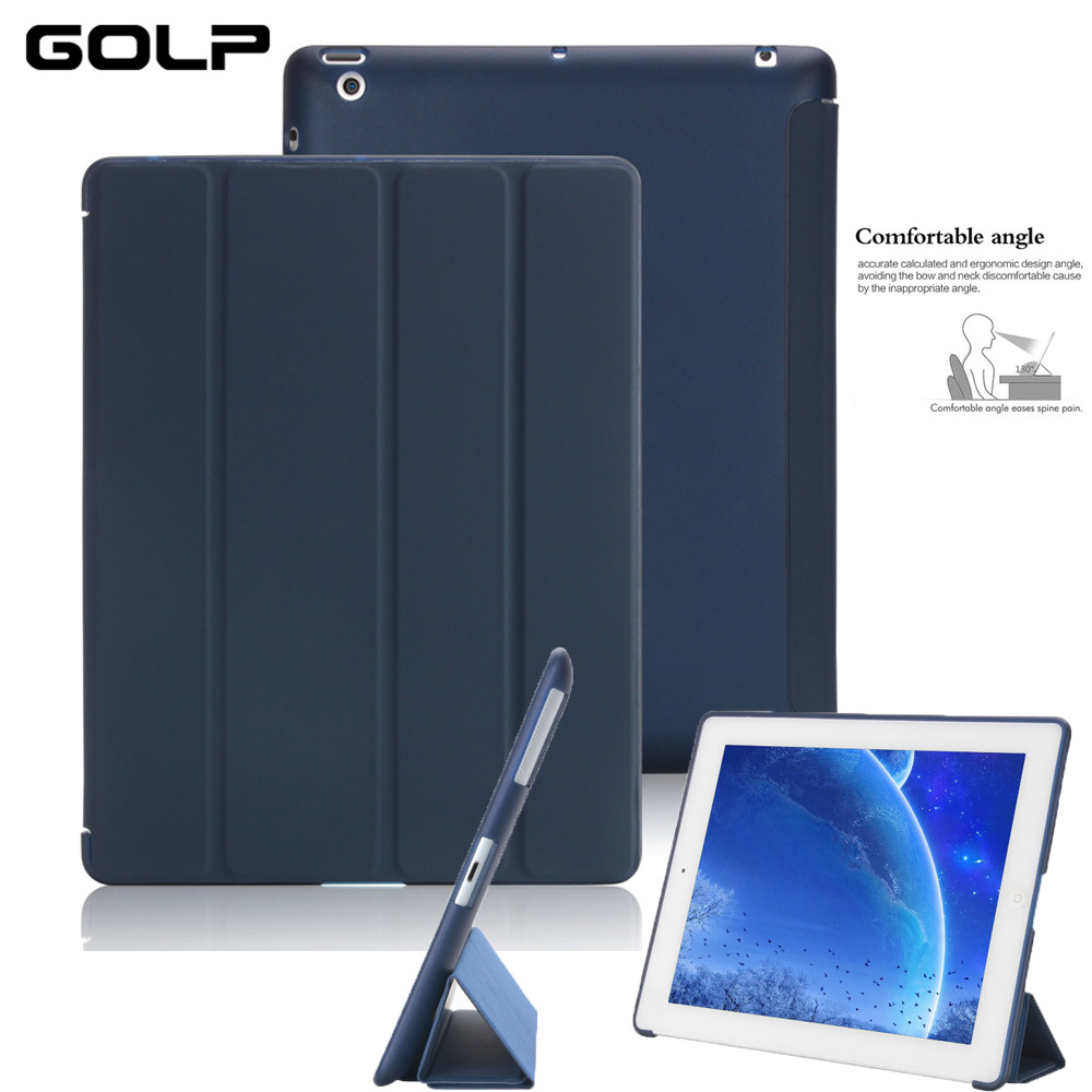Case For iPad 2 3 4, GOLP Ultra Slim PU Leather Flip Case Cover Soft TPU Back Magentic Smart Cover For iPad 2 3 4 A1430 A1460 mooncase view window leather side flip pouch ultra slim shell back чехол для htc one m8 black