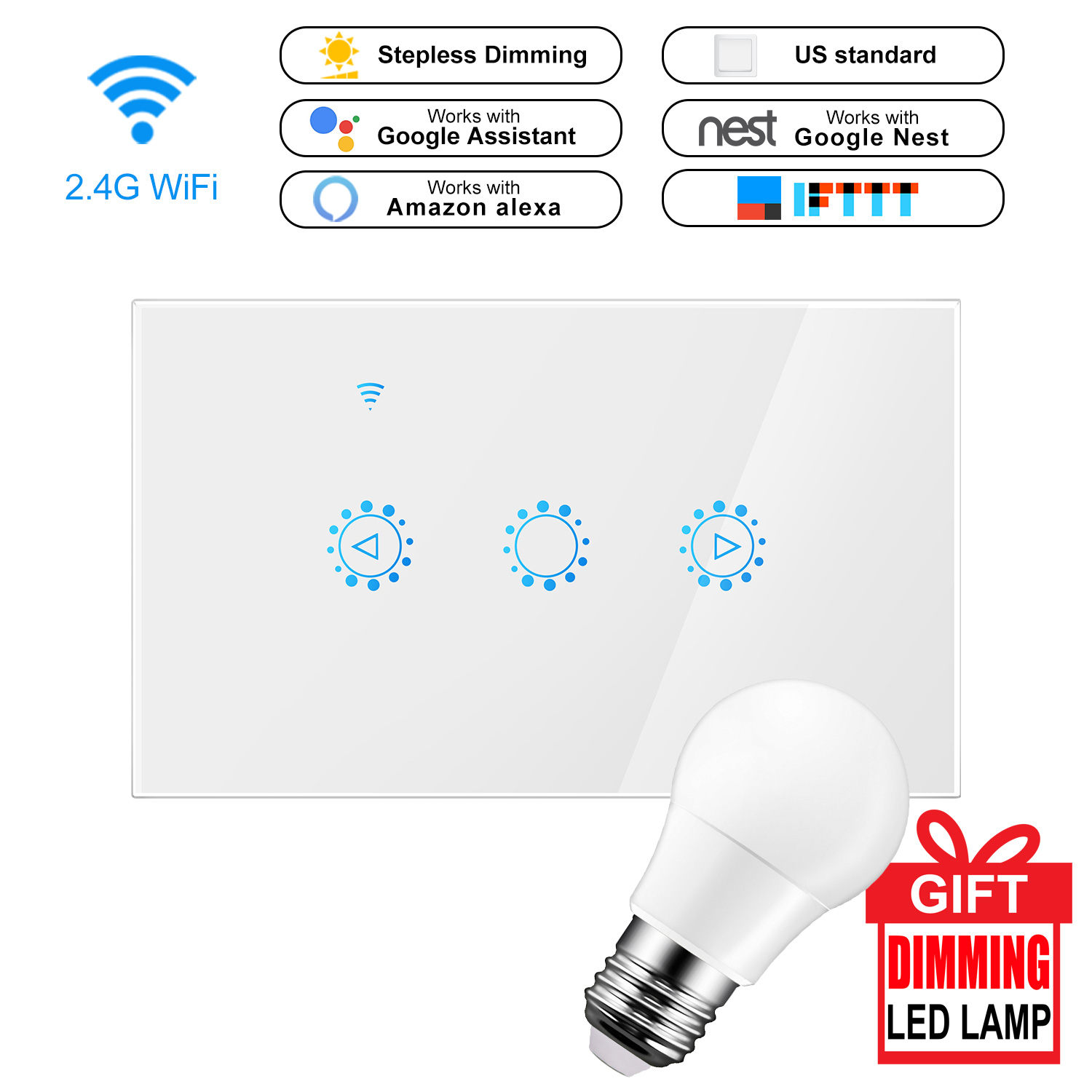 Smart Wireless Switch Touch Control Incandescent Lightless Panel Switch Compatible With Amazon Alexa Google Assistant IFTTT