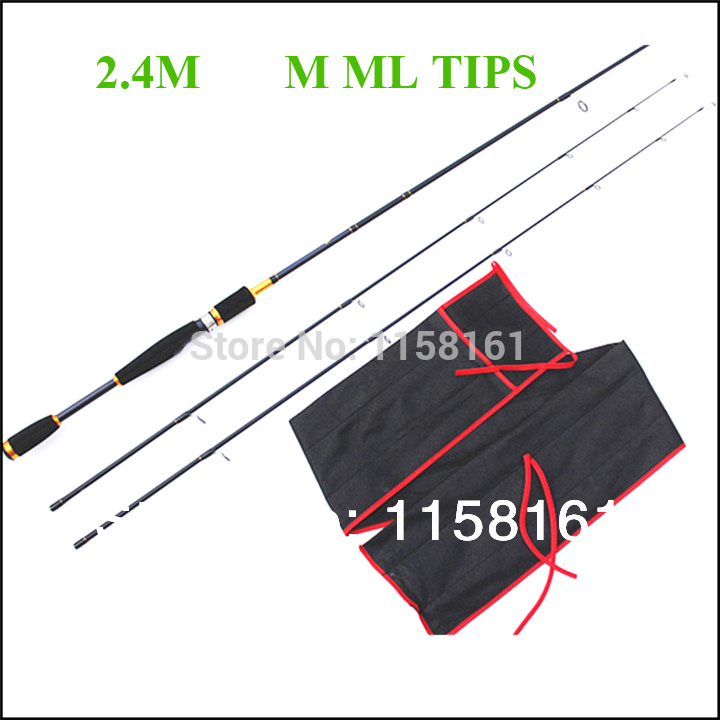 Free Shipping By EMS casting Carbon 2.4M Spining Fishing Lure Rod 1.98M 2.1M