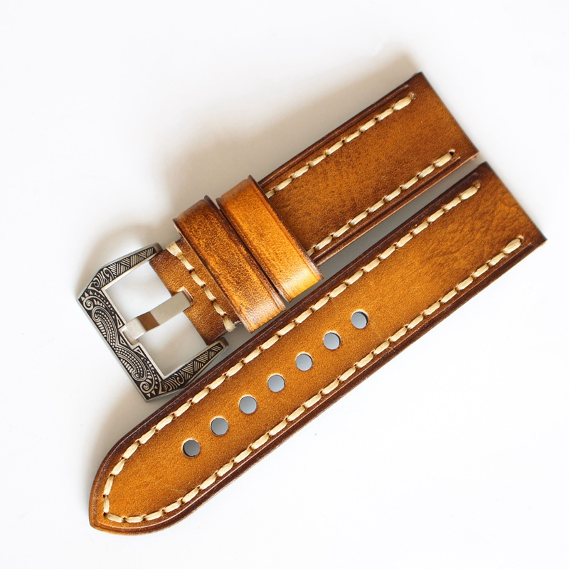 LUKENI Handemade 20mm 22mm 24mm Oil Yellow Retro Vintage Genuine leather Watchbands For PAM PAM111 Big Pilot watch Strap Belt new arrive top quality oil red brown 24mm italian vintage genuine leather watch band strap for panerai pam and big pilot watch