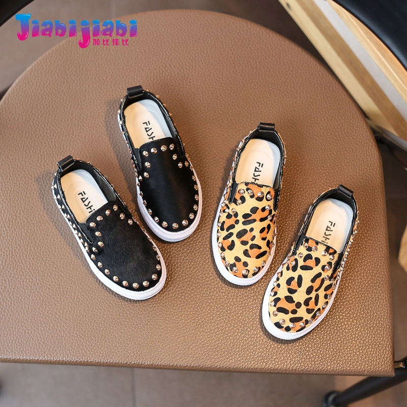 2-12T New Spring Children Leopard rivet Mohair Sport Shoes Boys Flats Girls Real Leather Casual Run Shoes Toddler kids Sneaker 8 2017 new spring imported leather men s shoes white eather shoes breathable sneaker fashion men casual shoes