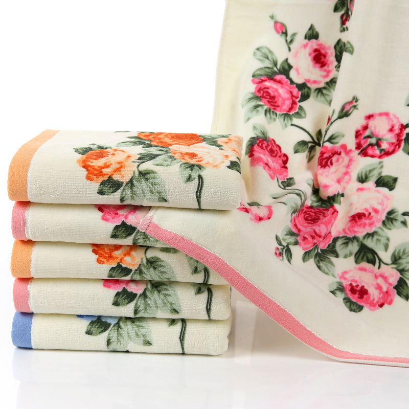 New Flower Printed Cotton Face Towel,Quality Pattern Bathroom Hand Towels,High Quality Beach Terry Towels,Petites Serviette Main