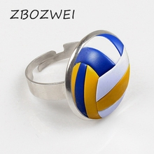 купить ZBOZWEI 2018 Men Vintage Volleyball Ring Antique Ring with Collares Sports Ball Volleyball Player Gift Private custom по цене 54.12 рублей