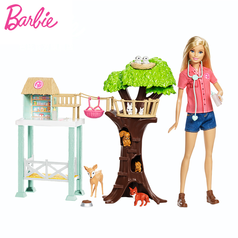2018 Barbie Animal Rescuer Doll & Playset Lovely Animal House Toy Building Little Girl Baby Girl Toys Poppenhuis Casa de Boneca