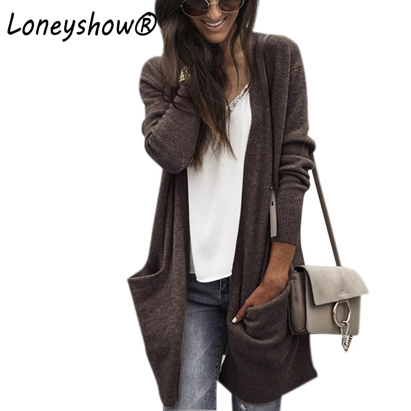 2017 Cardigans Long Sweaters Women Brown Knitting Loose Coats Autumn Winter Casual Clothing Pockets Fashion Wool Sweaters Coats