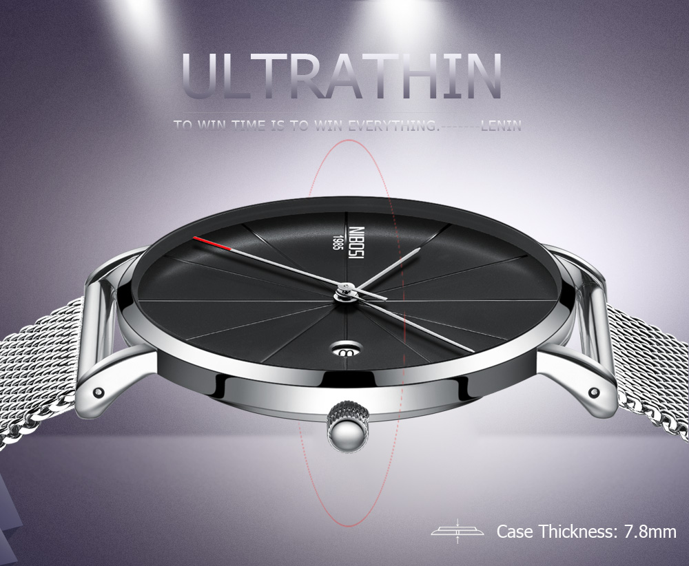 NIBOSI watch men black quartz wristwatches stainless steel mesh brand  watches men ultra thin quartz relogio masculino dourado (1)