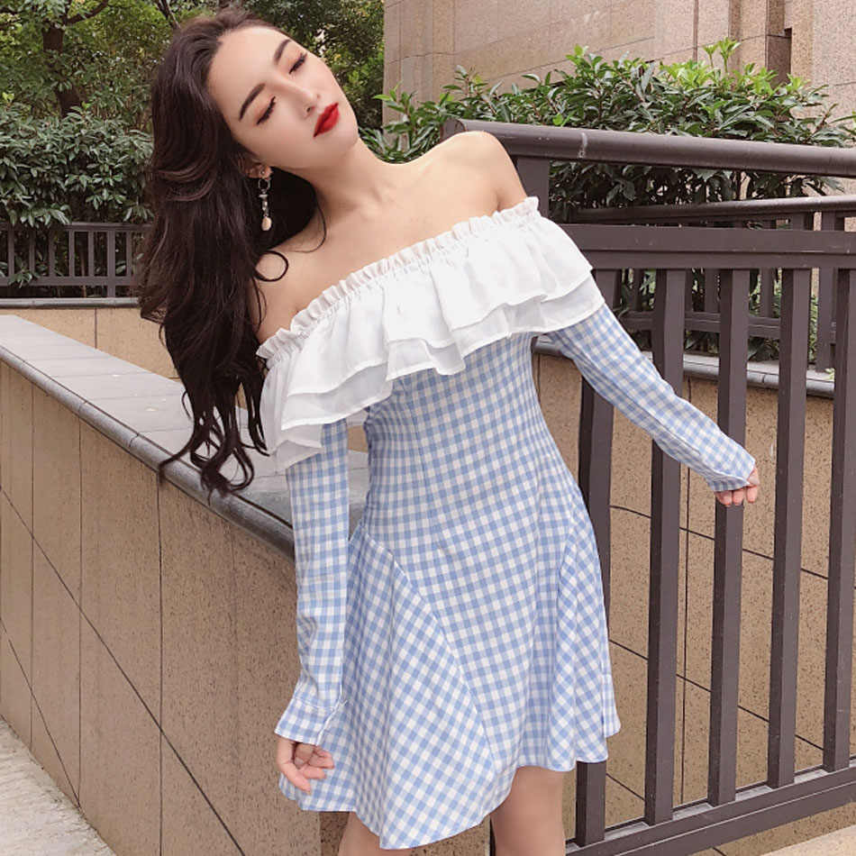 Сексуальное платье с открытыми плечами с вырезом лодочкой и оборками весеннее повседневное синее вечерние чатое платье выше колена трапециевидный декоративный воротник съемный