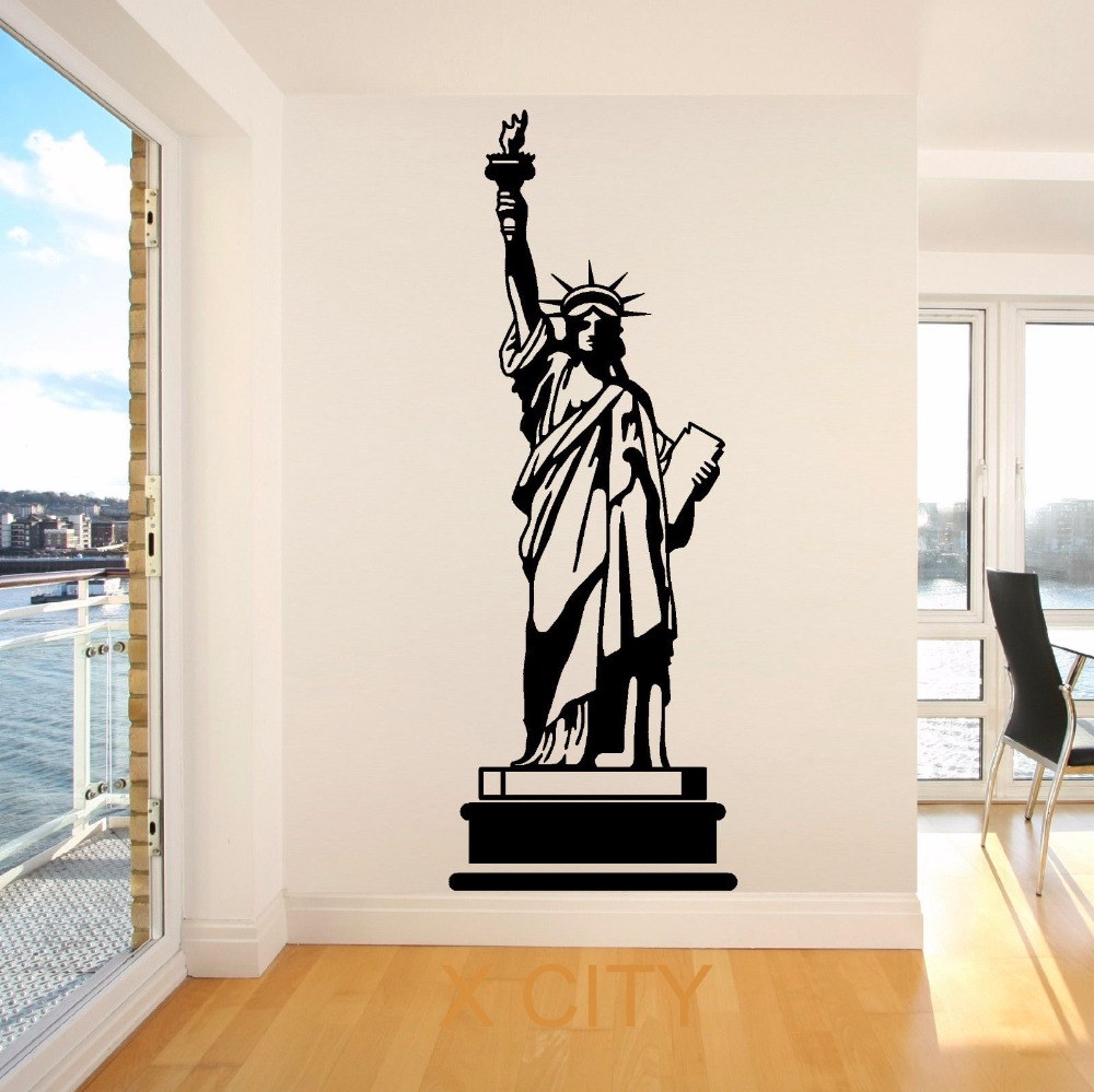 Aliexpress.com : Buy STATUE OF LIBERTY USA AMERICA New York Landmark Wall  Art Room Sticker Decal Door Window Stencils Mural Decor S M L From Reliable  Room ... Part 12