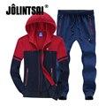 Jolintsai Homens Sportswear Terno 2017 Outono Além de Grande Tamanho 4XL 5XL 6XL 7XL 8XL dos homens Conjunto Agasalho Com Capuz Hoodie Sudaderas Hombre