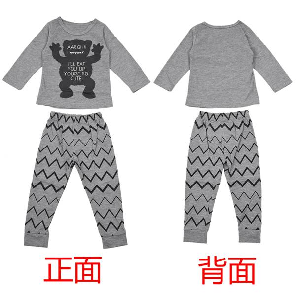 ABWE Best Sale Toddler Baby Boy Girls T-shirt+Pant Outfit Set Pajamas Clothing , Gray (Monster) , 0-6 Months