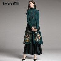 Women suit set royal Wide leg pants + loose wool embroidery floral open stitch knit coat