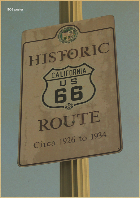 Vintage US Historiс Route 66 Posters