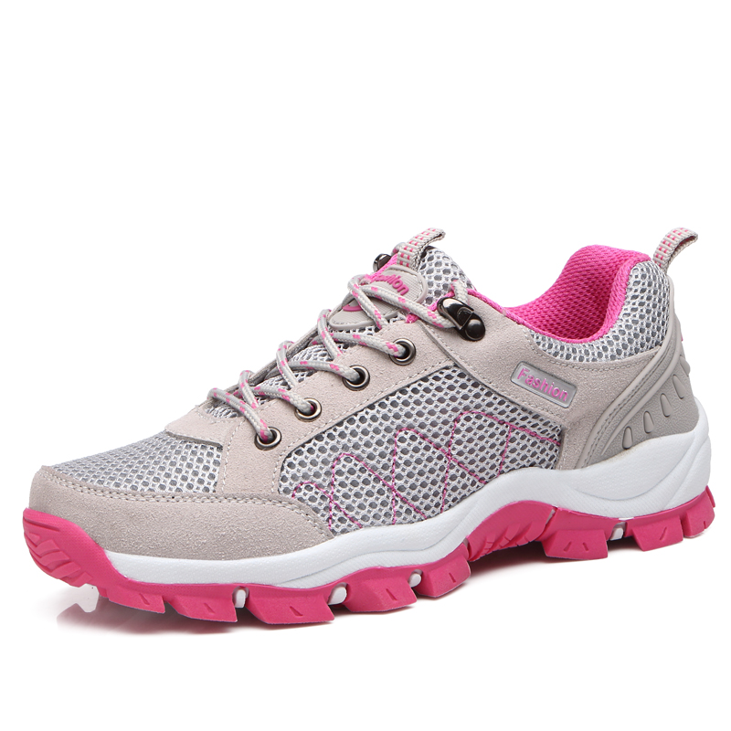 Sneakers Hiking-Shoes Trekking Outdoor Travel Breathable Women Non-Slip Pink Pu Purple