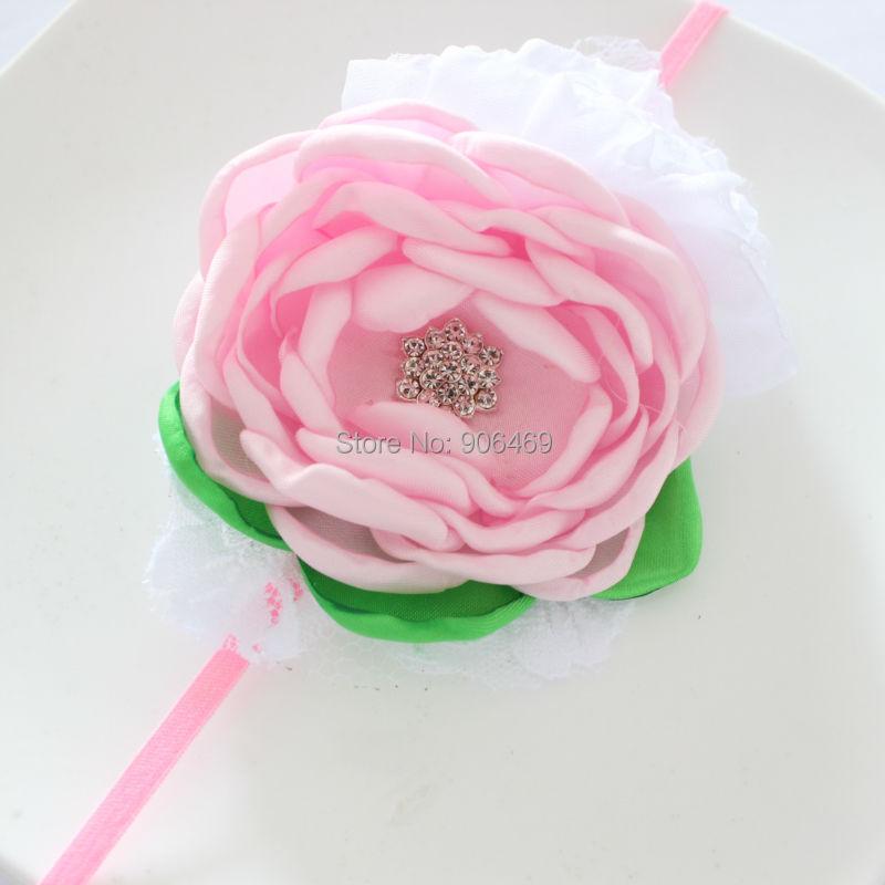 Svatební vlasy Čelenka na květiny KIDS Burned Flower čelenka, růžová bílá zpěv květina čelenka Dívka, pokrývky hlavy, čelenka 1ks