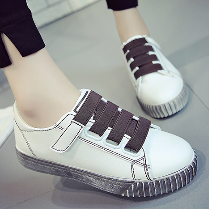 Fashion ladies shoes PU leather sneakers shallow hook loop sneakers woman casual shoes classic zapatillas mujer size 35-40