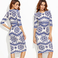 2017 das mulheres dress porcelana blue print longo dress meia manga sexy dress mulheres cintura alta magro dress vintage dress robe