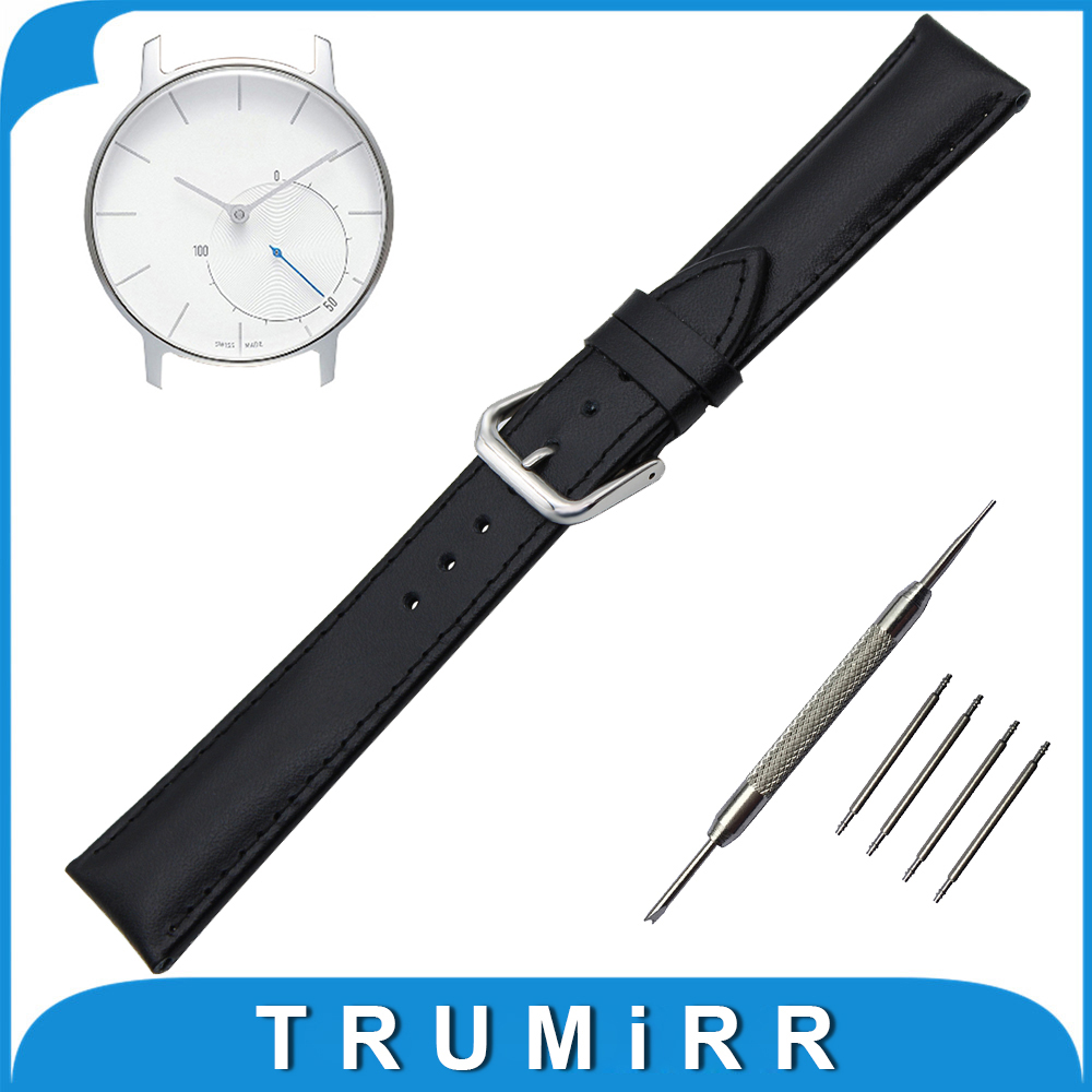 Genuine Leather Watch Band 18mm for Withings Activite / Steel / Pop Stainless Buckle Strap Wrist Belt Bracelet Black Brown 18mm milanese watch band quick release for withings activite steel pop mesh stainless steel strap wrist belt bracelet tool