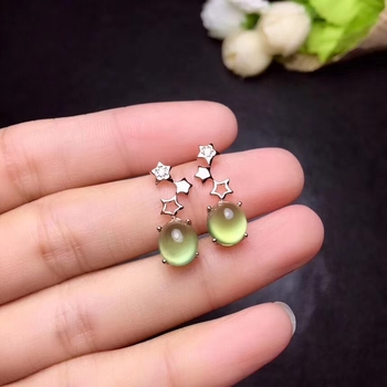 Natural yellow prehnite drop earrings S925 silver natural Gemstone earrings fashion Lovely Stars round Women gifts jewelry