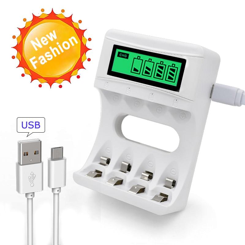 все цены на 4 Slots Ulrea Fast Smart Intelligent Battery Usb Charger For AA / AAA NiCd NiMh Rechargeable Batteries LCD Display онлайн