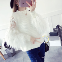 Round Neck Long Sleeve Plush Tassel Sleeves Splicing Knitting Sets Of Sweater Women 2018 New