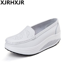 2017 New Women Leather Platform Shoes Wedges White Lady Casual Shoes Swing Mother Shoes Breathability Flat Shoes 2019 new fashion women casual floral print leather platform evelator shoes women swing wedges shoes h5