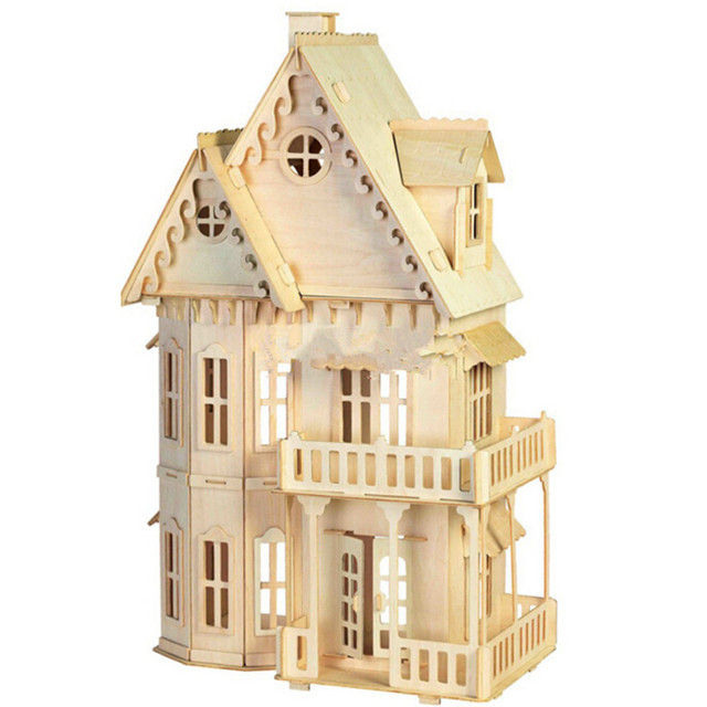 Educational 3D Wooden House Toys DIY Gothic Villa House,Construction Toy Models  For Children, Free Shipping