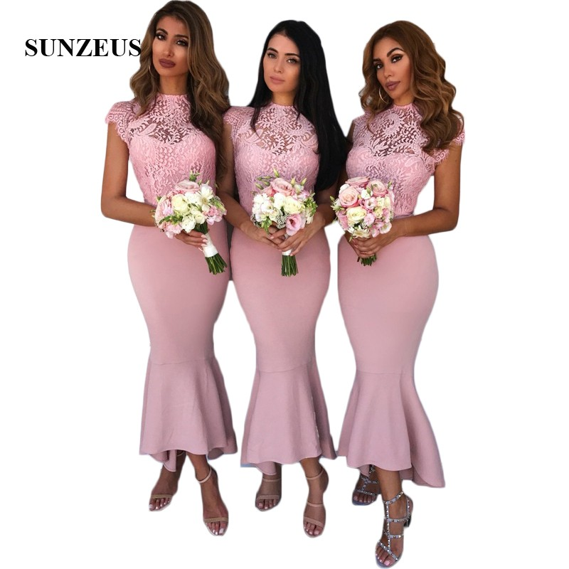 Mermaid Pink   Bridesmaid     Dresses   Ankle Length Wedding Party   Dresses   Cap Sleeve O-Neck Lace Maid of Honor   Dresses   SBD60