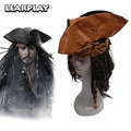 Pirates of the Caribbean Captain Jack Cosplay Hat Wig Beard Tricorn Buccaneer Full Set Christmas Halloween Costume Accessories