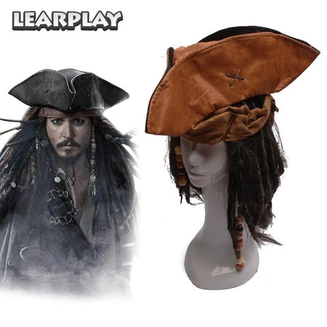 dd1580dc0f55d Piratas do Caribe Capitão Jack Cosplay Peruca Chapéu Barba Tricorn Pirata  Conjunto Completo de Acessórios Do
