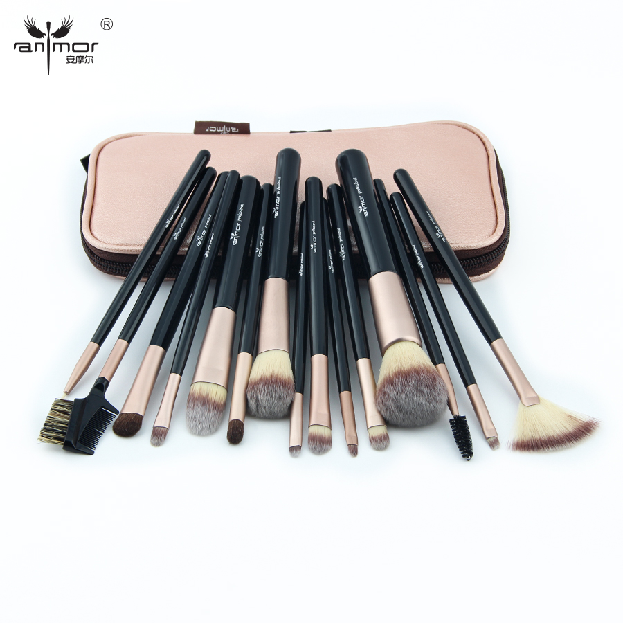2017 New 15PCS Makeup Brushes Set Professional Make Up Brush Kit With Pink Bag
