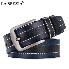 LA SPEZIA Real Leather Belt For Men Designer Navy Pin Buckle Male Brand Casual Genuine Cow Patchwork Jeans Belts