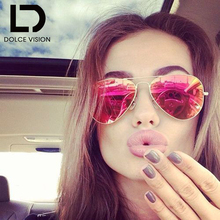 DOLCE VISION Classic Poalrized Sunglasses Women Aviator Mirror Pilot Fashion Brand Designer Shades Oculos Female Lunette UV400