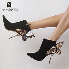 Prova Perfetto Butterfly Wing Design Women Ankle Boots Pointed Toe High Heels Suede Botas Mujer Valentine Shoes Women Pumps