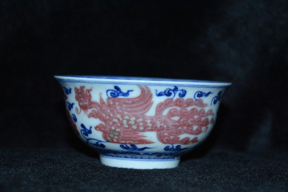Bol Antique en porcelaine mingdynastie, bol dragon bleu et rouge, artisanat peint à la main, Collection et parure, livraison gratuite